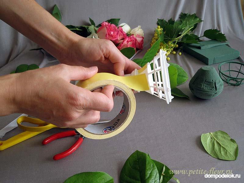 Тюльпаны, как собрать свадебный букет своими руками без портбукетницы
