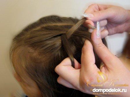 Красивая прическа из объемных кос корзинка.