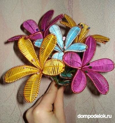 Цветы из проволоки и ниток своими руками мастер класс