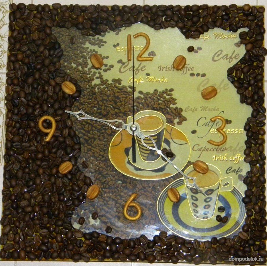 Часы с кофейными зернами своими руками фото