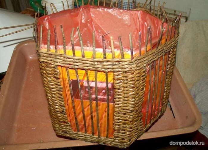 Плетеный домик для птиц своими руками 22